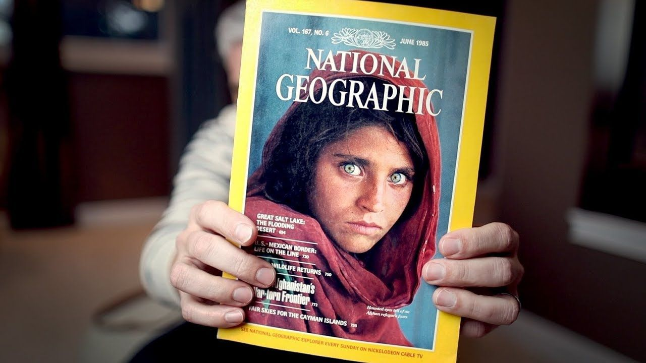 The infamous National Geographic cover with Sharbat Gula